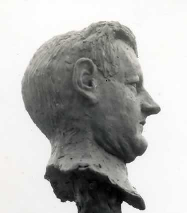 Clay portrait of a man's head