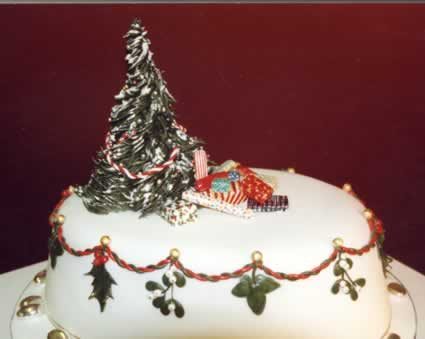 Christmas Cake with Christmas Tree.